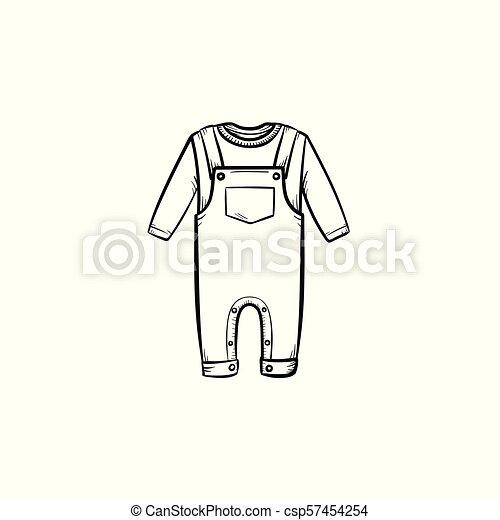 Camiseta de bebé y pantalones dibujados a mano de dibujo de garabato. - csp57454254
