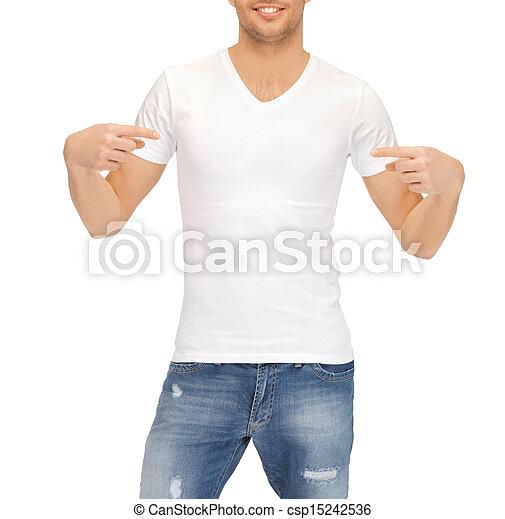 Hombre con camiseta blanca en blanco - csp15242536