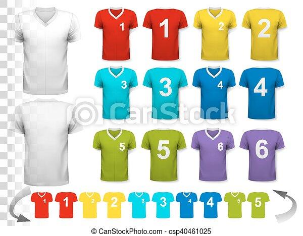 Colección de varias camisetas coloridas de fútbol con números. La camiseta es transparente y puede ser usada como plantilla con tu propio diseño. Vector. - csp40461025