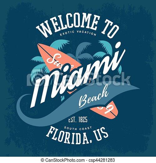 La etiqueta de camisetas con palmas y tabla de surf - csp44281283