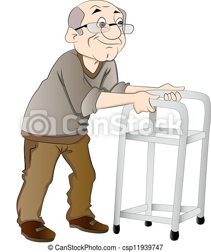 camminatore, uomo, vecchio, illustrazione, usando - csp11939747