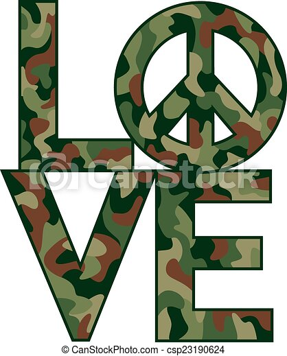 Camo Love=Peace - csp23190624