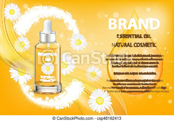 Camomile essential oil cosmetic product ad. vector 3d illustration ...