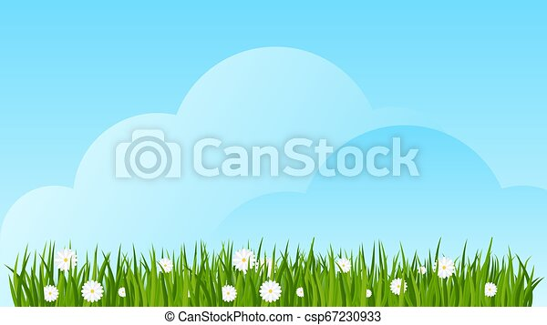 Camomiles and a green grass border on blue sky background. - csp67230933