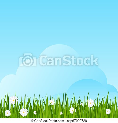 Camomiles and a green grass border on blue sky background. - csp67002728