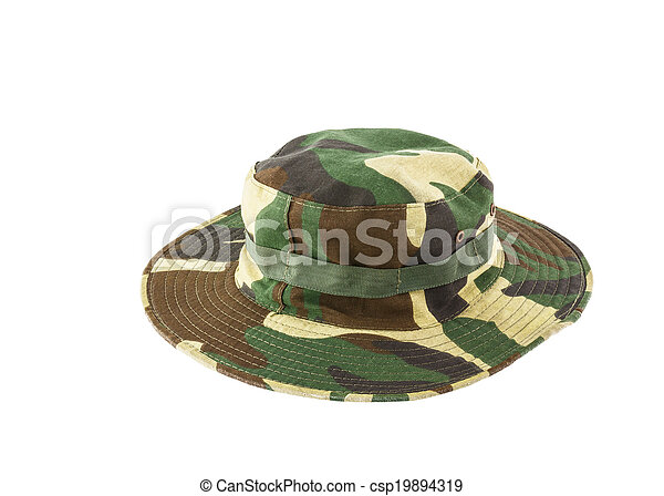 Camouflage hat isolated on white background - csp19894319