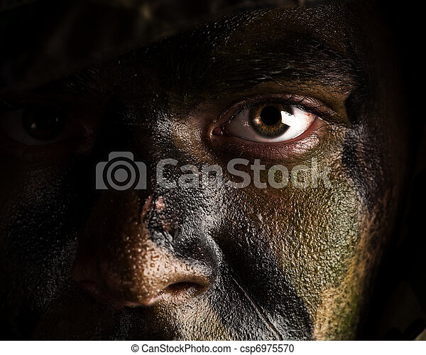 camouflage painted face - csp6975570