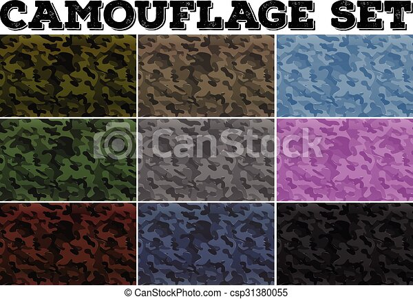 Camouflage set with military theme - csp31380055
