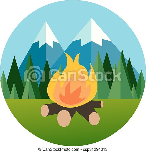 camp fire in forest mountain flat icon pine tree  jungle vector graphic - csp31294813