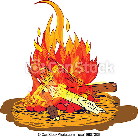 Camp Fire Sketch Flame Burn With Fireplace Wood And