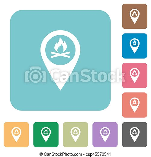 Camp GPS map location rounded square flat icons - csp45570541
