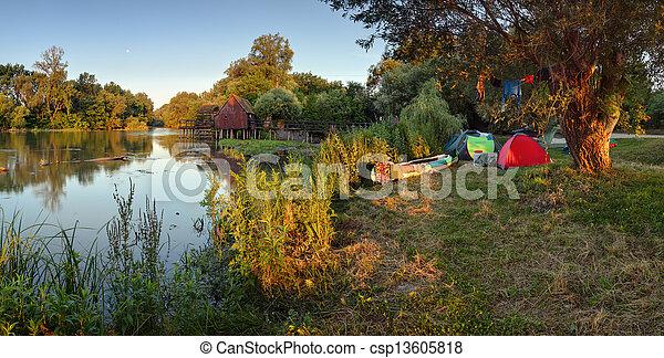 Camp near river small Danube - csp13605818