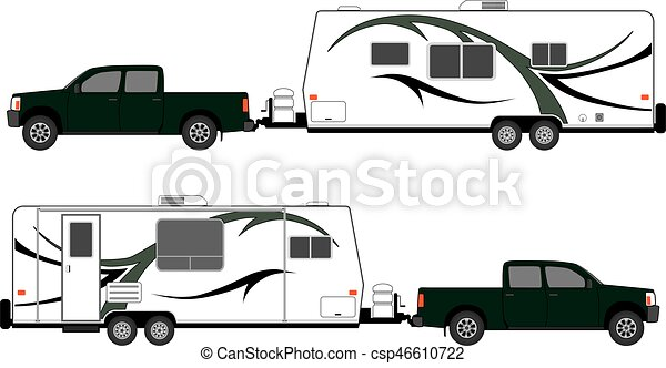 Camp Trailer With Pickup - csp46610722