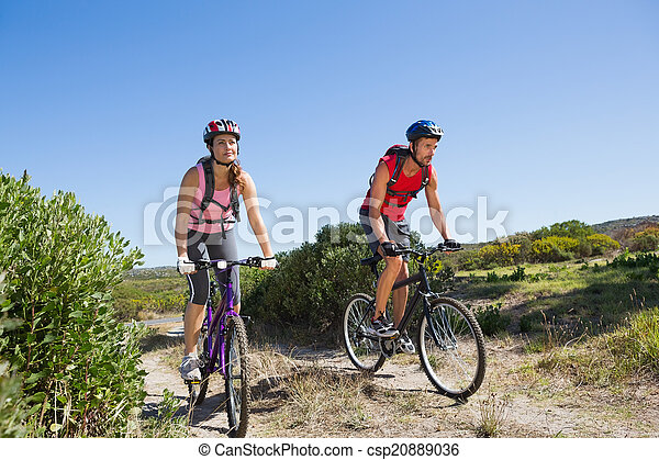 campagne, actif, couple, cyclisme - csp20889036
