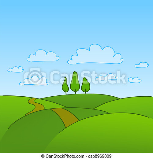 campagne, arbres verts - csp8969009