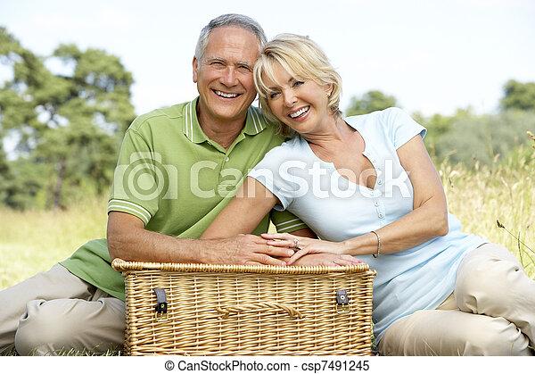 campagne, couple, pique-nique, avoir, mûrir - csp7491245