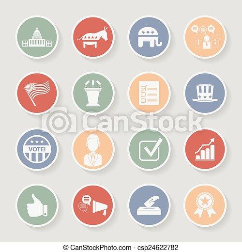 campagne, icônes, set., politique, illustration, vecteur, élection, rond - csp24622782