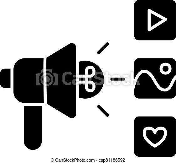 Campaign black glyph icon - csp81186592