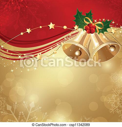 Trasfondo de Navidad Vector con dos campanas - csp11342089