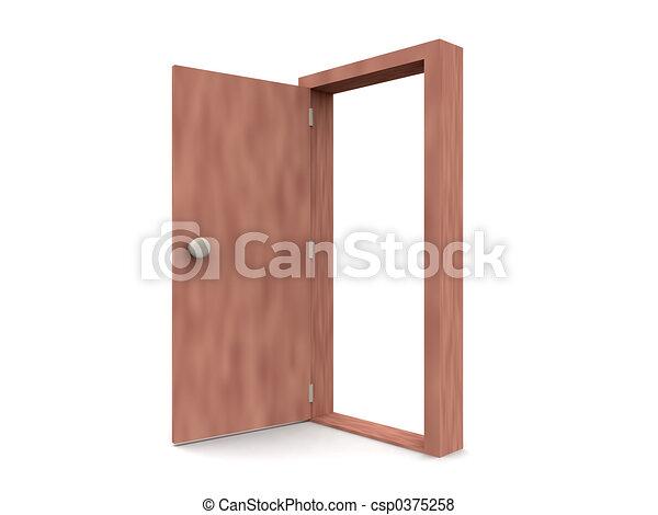 Puerta abierta, caricatura - csp0375258