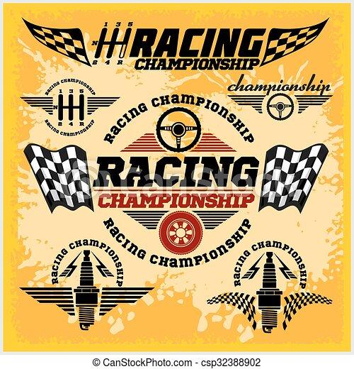 campeonato, car, emblemas, vetorial, raça, correndo, emblemas - csp32388902