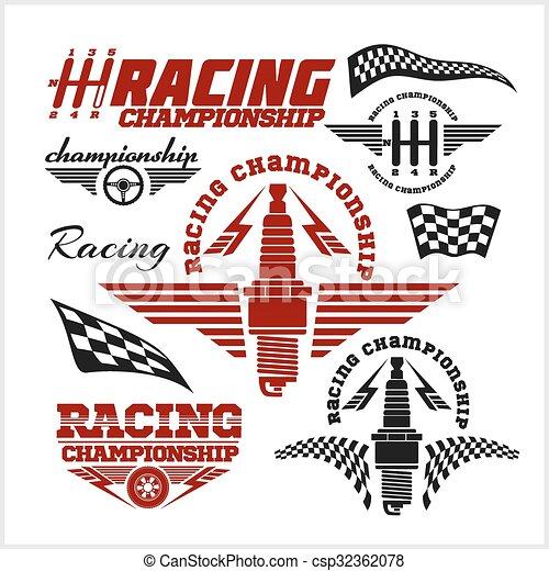 campeonato, car, emblemas, vetorial, raça, correndo, emblemas - csp32362078