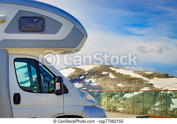 Camper car on Dalsnibba viewpoint, Norway - csp77062155