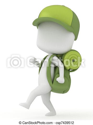 3d Illustration Of A Kid Camper Walking Marching