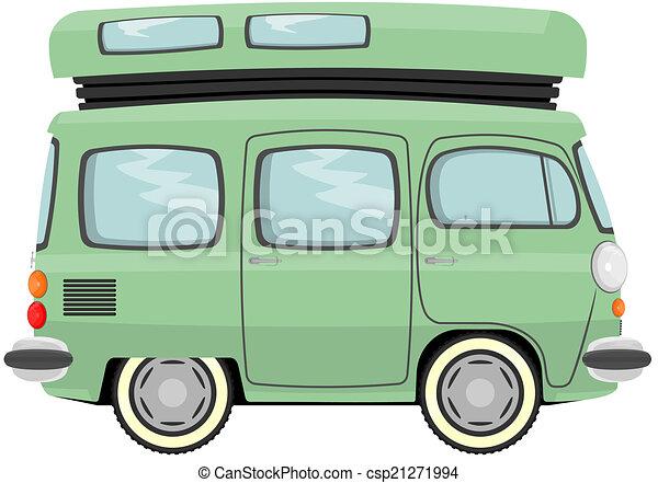 Camper Funny Cartoon Retro Van Or Small Bus Vector