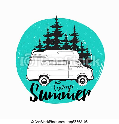 Camper Trailer Campervan Or Recreational Vehicle Driving On Road Against Spruce Trees Background