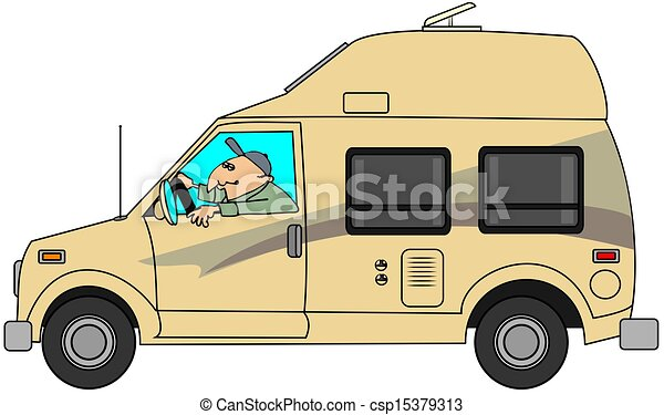 This Illustration Depicts A Man Driving A Class B Camper Van