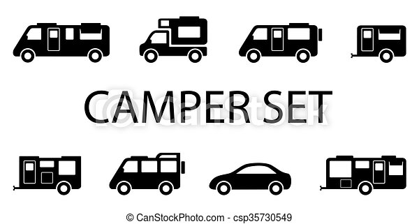 Isolated Black Camper Van Icons On White Background