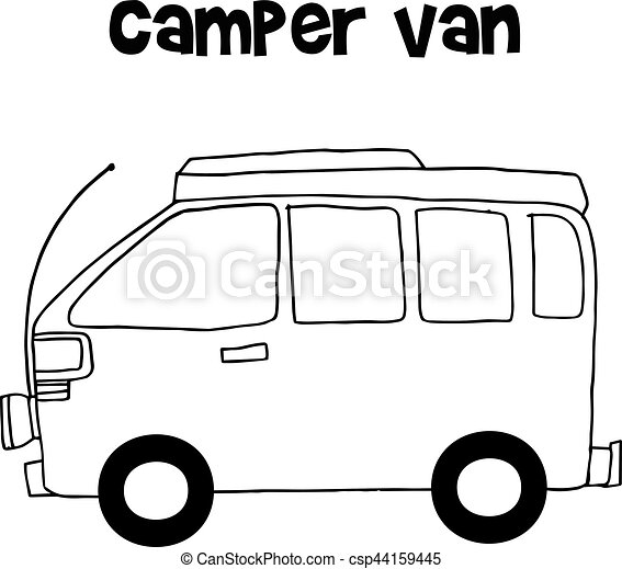 Camper Van Of Vector Illustration Hand Draw Eps Vector