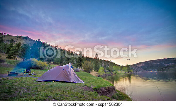 Camper's Tent on Mountain Lake - csp11562384