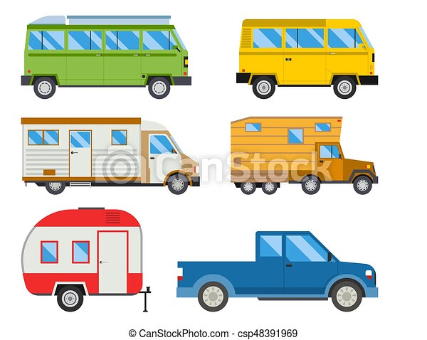 Campers Vacation Travel Car Summer Nature Holiday Trailer House Vector Illustration Flat Transport Classic Caravan Campsite Automobile Retro Minivan Camp