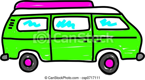 Green Campervan Isolated On White