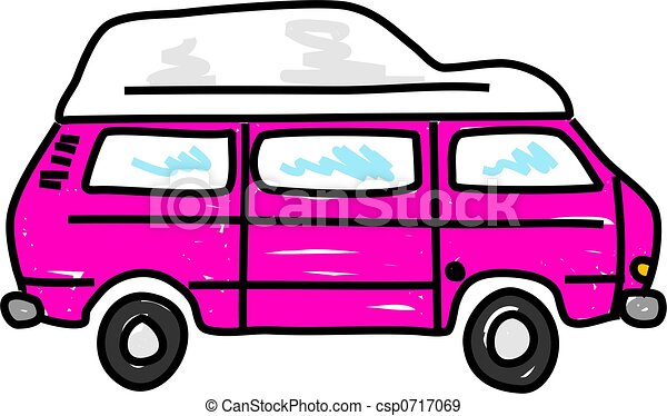 Pink Motorhome Campervan Isolated On White