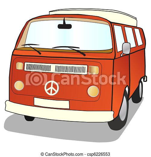Campervan In Simple Illustrated Style With Ban The Bomb Cnd Sign
