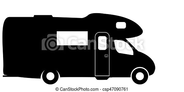 Camping Car Dessin campeur, camping car, voyante, fourgon, silhouette. camping car