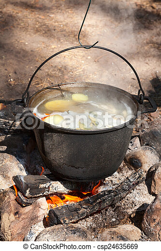 Campfire Cooking Fish Soup On Camping Bonfire Stock Image
