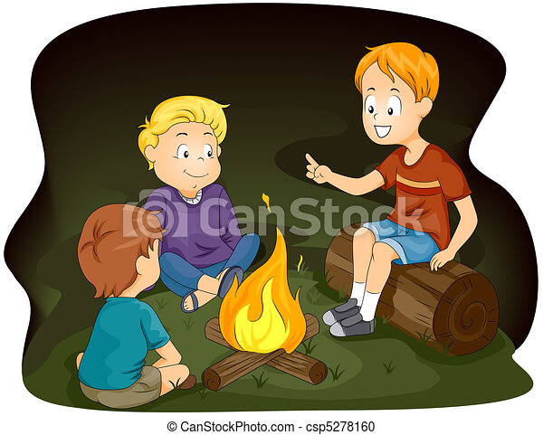 Illustration Of Kids Gathered Around A Campfire