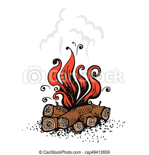 Campfire Fire Over Wood Logs Vector Illustration Isolated On White
