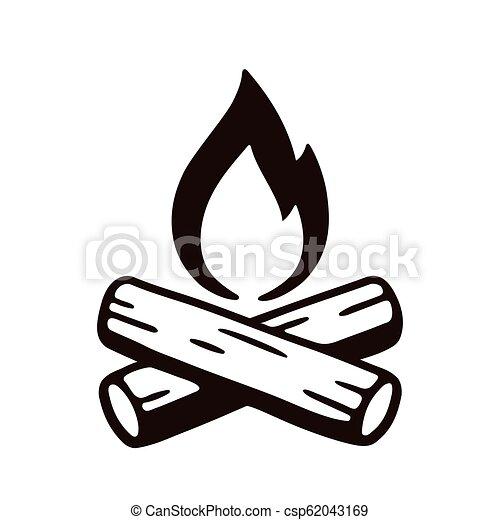 Campfire hand drawn illustration - csp62043169