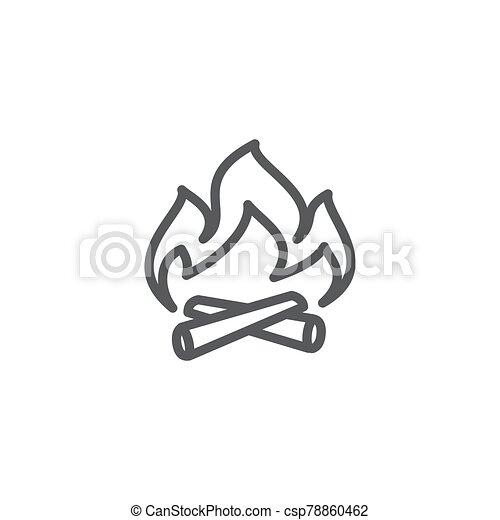 Campfire line icon on white background - csp78860462