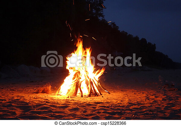Campfire on the beach - csp15228366