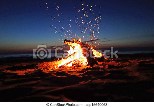 Campfire on the beach - csp15640063