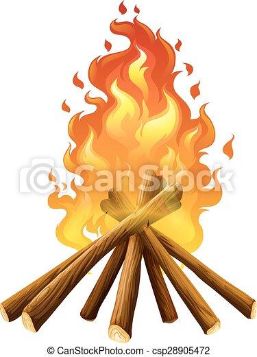 Campfire on white background - csp28905472