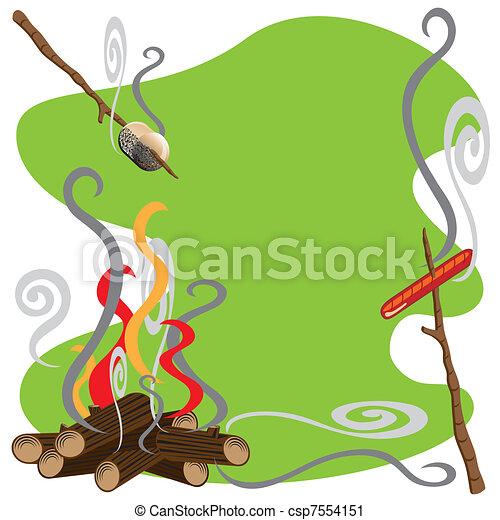 Campfire Treats Roasting Marshmallows And Hotdogs Over A