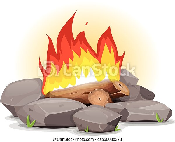 Campfire With Burning Flames - csp50038373