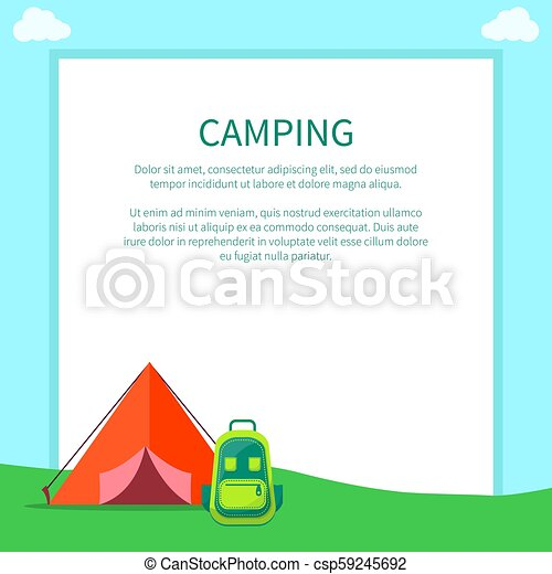 Camping Accessories Rucksack And A Frame Tent Camping Accessories Rucksack And A Frame Tent Made Of Red Fabric With Half